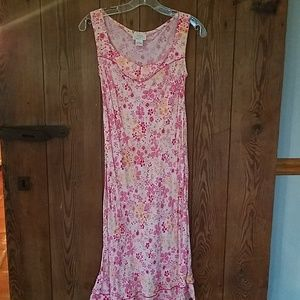 Pink floral sleeveless dress